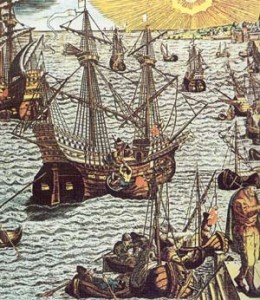 A treasure fleet is being loaded with riches.