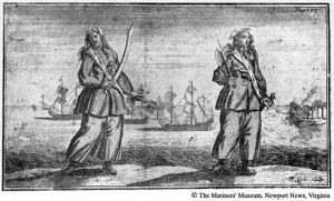 Famous woman pirates Anne Bonny and Mary Read